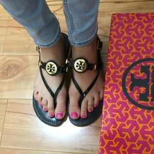 Tory Burch Ali Black Leather Slingback Sandals 8.5